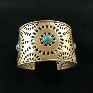 Lucky Brand Cleobella Gold Turquoise Cuff Bracelet